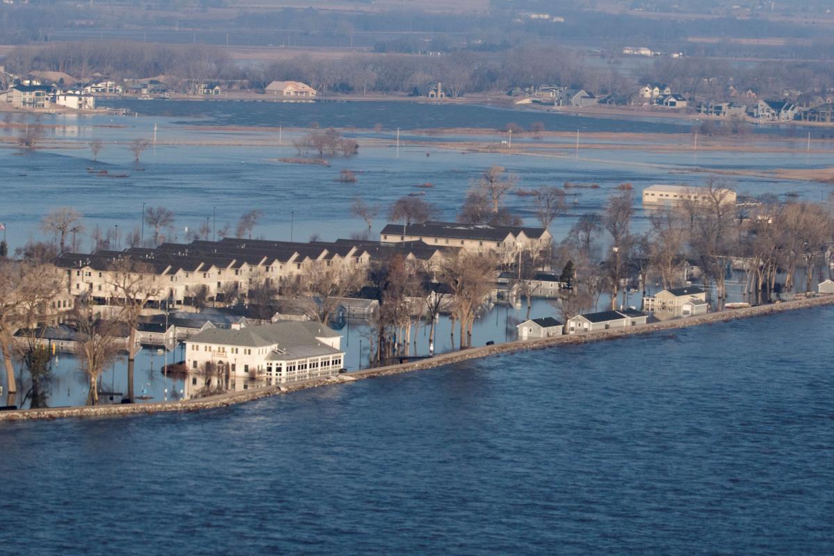 Camp Ashland, a National Guard facility in Ashland, Neb., was flooded on Sunday.