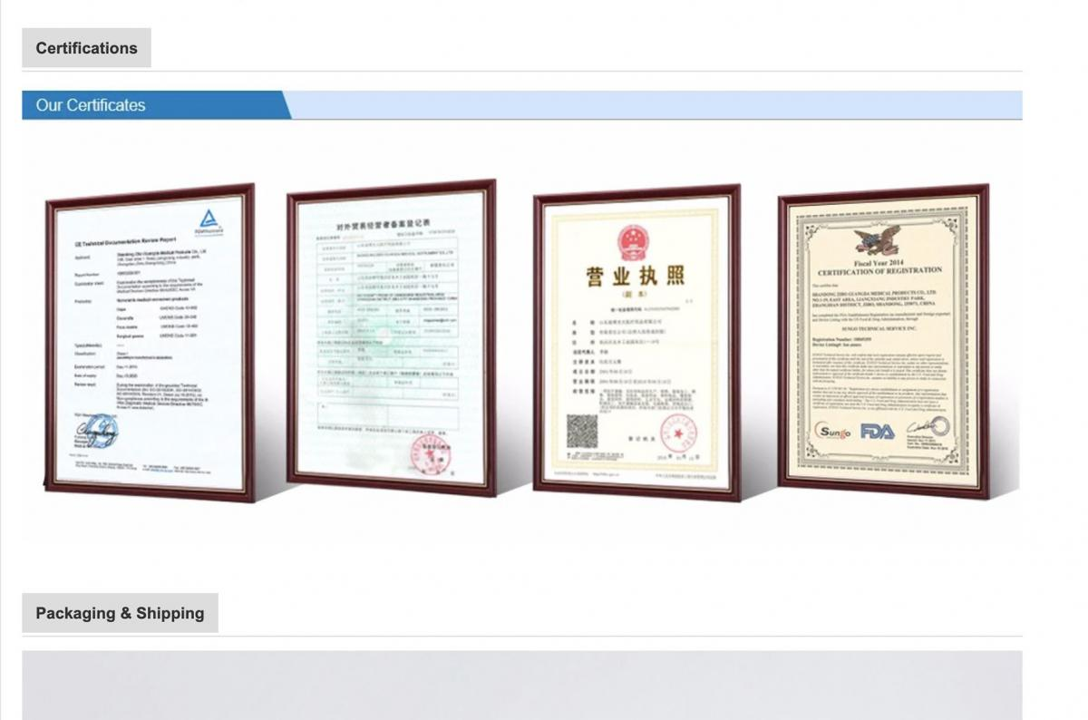 On the online commerce site Alibaba.com, a listing for surgical masks includes a section devoted to certificates, including one with the FDA logo (right). The FDA, however, doesn't issue these kinds of certifications.