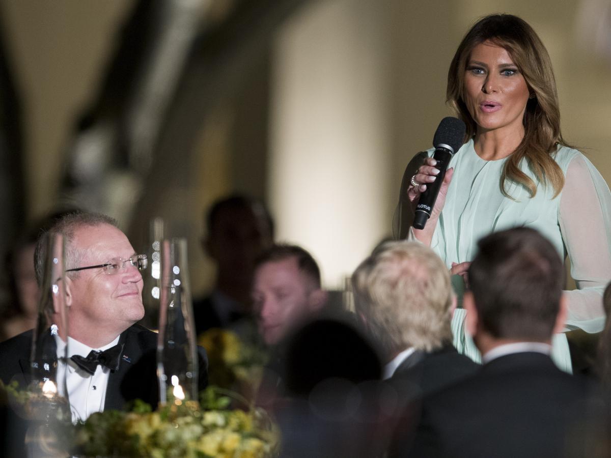 First Lady Melania Trump speaks as Australian Prime Minister Scott Morrison listens during a state dinner in the Rose Garden on Sept. 20, 2019.