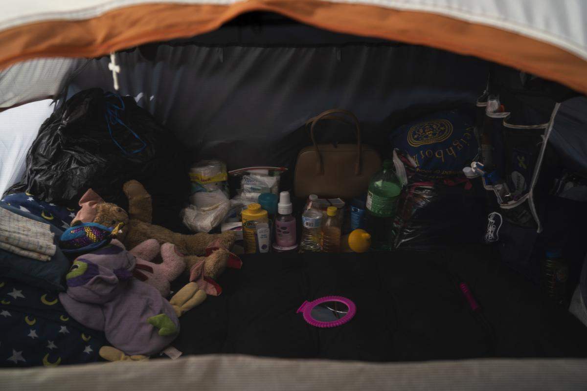 One of the asylum-seekers tents located near the Gateway International Bridge in Matamoros, Tamaulipas.