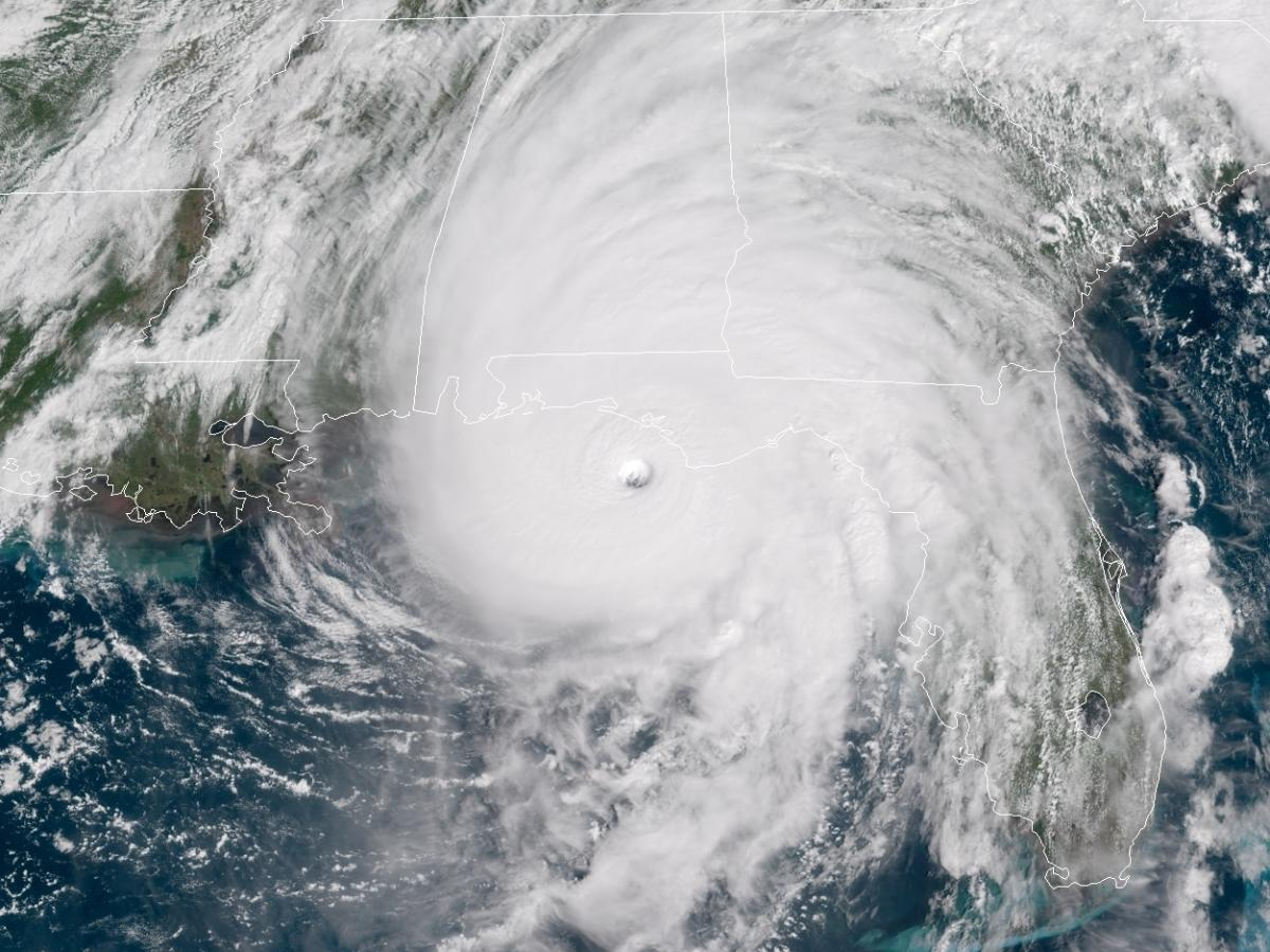 Hurricane Michael, seen here as it neared the Florida Panhandle around noon on Wednesday, is the strongest storm to hit the area since records were first kept.