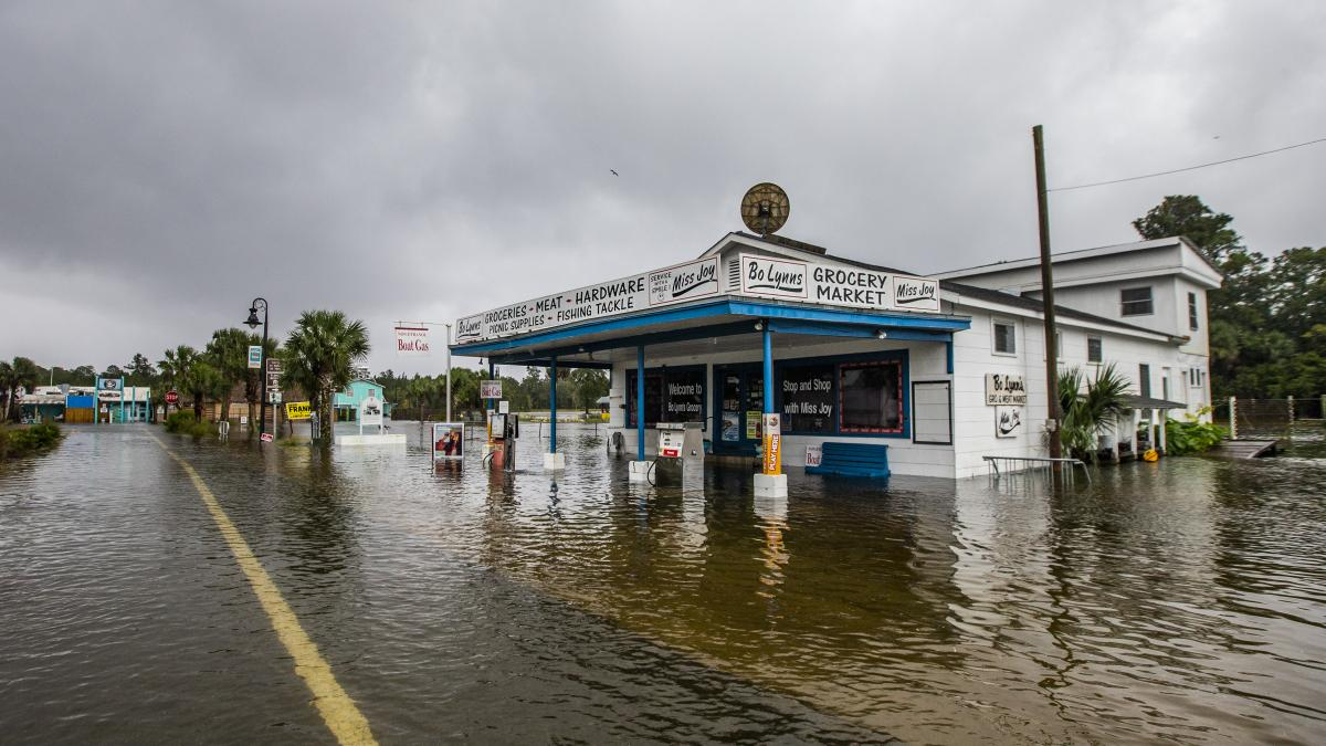 Bo Lynn's Market was taking on water in the town of St. Marks, Fla., on Wednesday, ahead of Michael's landfall in the Florida Panhandle. The hurricane struck land first as Category 4 storm.