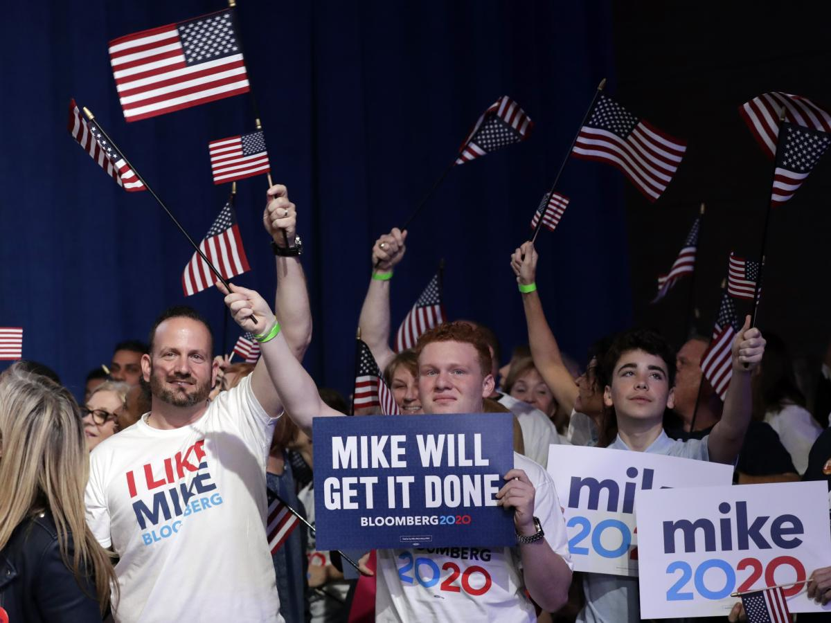 Supporters of Democratic presidential candidate former New York Mayor Mike Bloomberg attend a primary election night campaign rally March 3, in West Palm Beach, Fla. Bloomberg dropped out the next day.