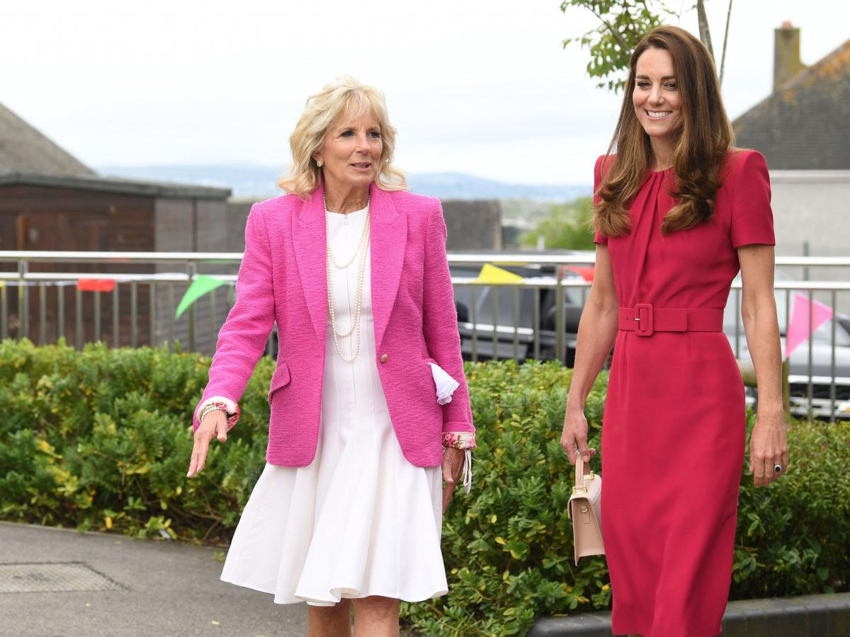 First lady Jill Biden and Britain's Catherine, Duchess of Cambridge, visit Connor Downs Academy in Hayle, England, on the sidelines of the G-7 summit Friday.