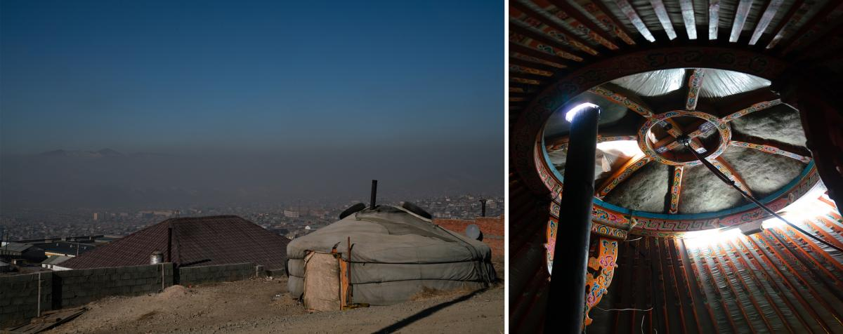 (Left) A ger on the city's outskirts. (Right) A chimney in one ger sends the coal smoke out through the opening in the roof. In the past 20 years, 600,000 people have migrated to Ulaanbaatar — many occupying traditional gers off the city's electric grid