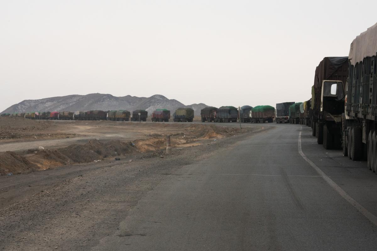 The road from Mongolia's Tavan Tolgoi coal mine to the border crossing at Gashuun Sukhait is 150 miles long. Backups can stretch for miles. Drivers may wait up to seven days in this line before reaching China.