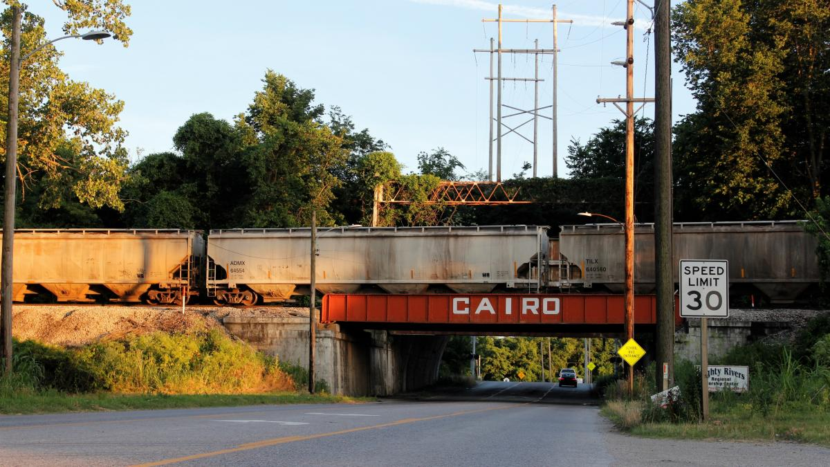 Driving into Cairo, Ill., from the north, you pass a funeral home and go through an underpass beneath a rail line. Structures behind this bridge block road traffic through the underpass in case of massive flooding from the nearby Ohio and Mississippi rive