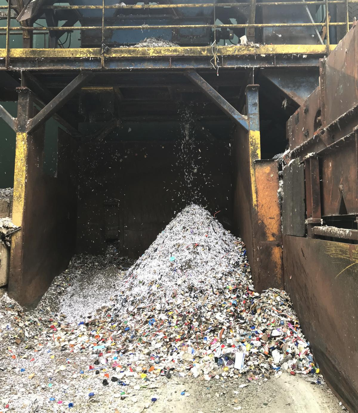 A pile of debris including all kinds of plastics grows hourly at Omni Recycling, a materials recovery facility in Pitman, N.J. Plastic bags are especially problematic because they can get caught in the conveyor belts and equipment and gum up the recycling