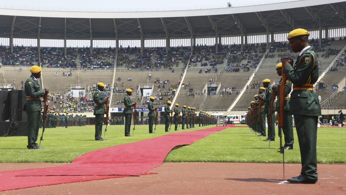 At Mugabe's state funeral were military and police bands, and world leaders were brought in — including the presidents of Kenya, South Africa, Ethiopia, Angola and Mozambique.