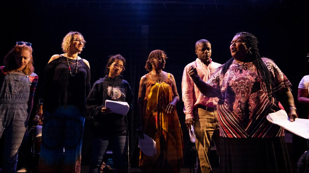 The cast of East of the River performs at the Anacostia Arts Center Friday night.