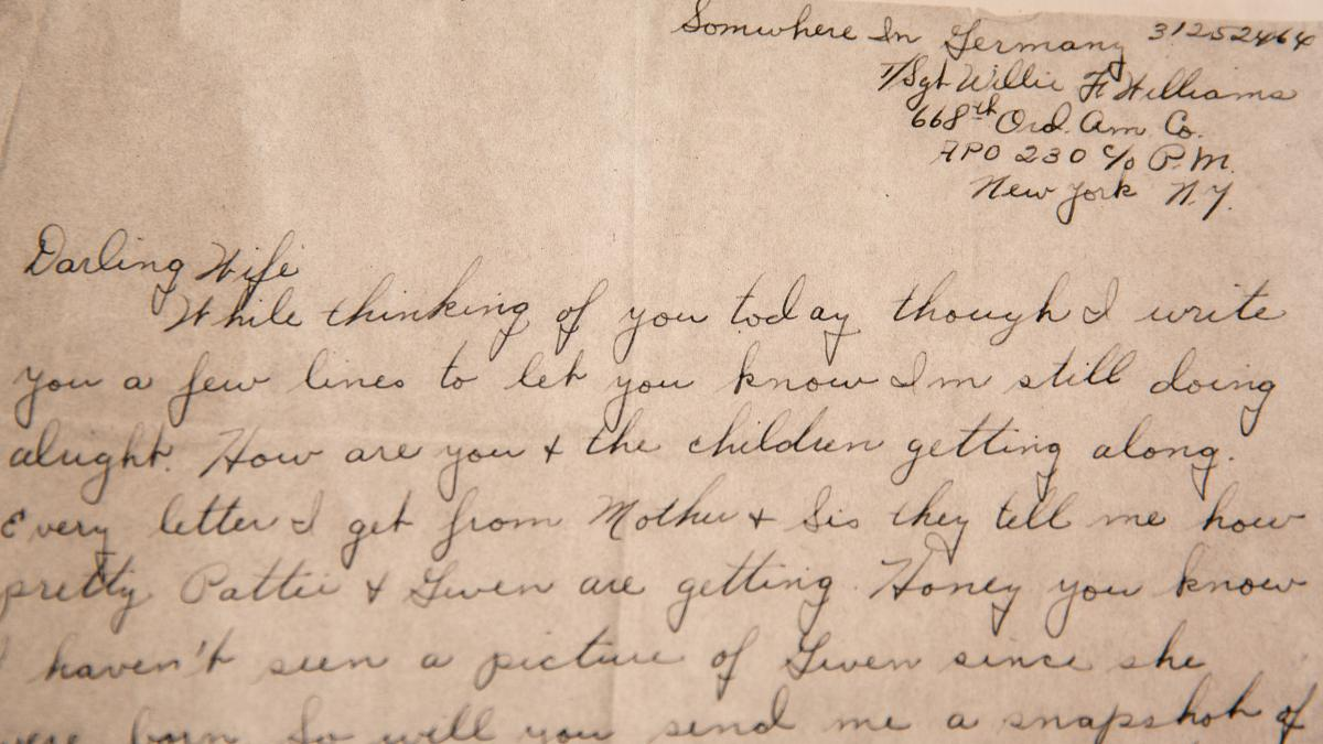 """A letter written by Sgt. Willie F. Williams to his wife Effie from """"somewhere in Germany"""" during World War II. The letter was found in a suitcase never opened by anyone but Effie."""