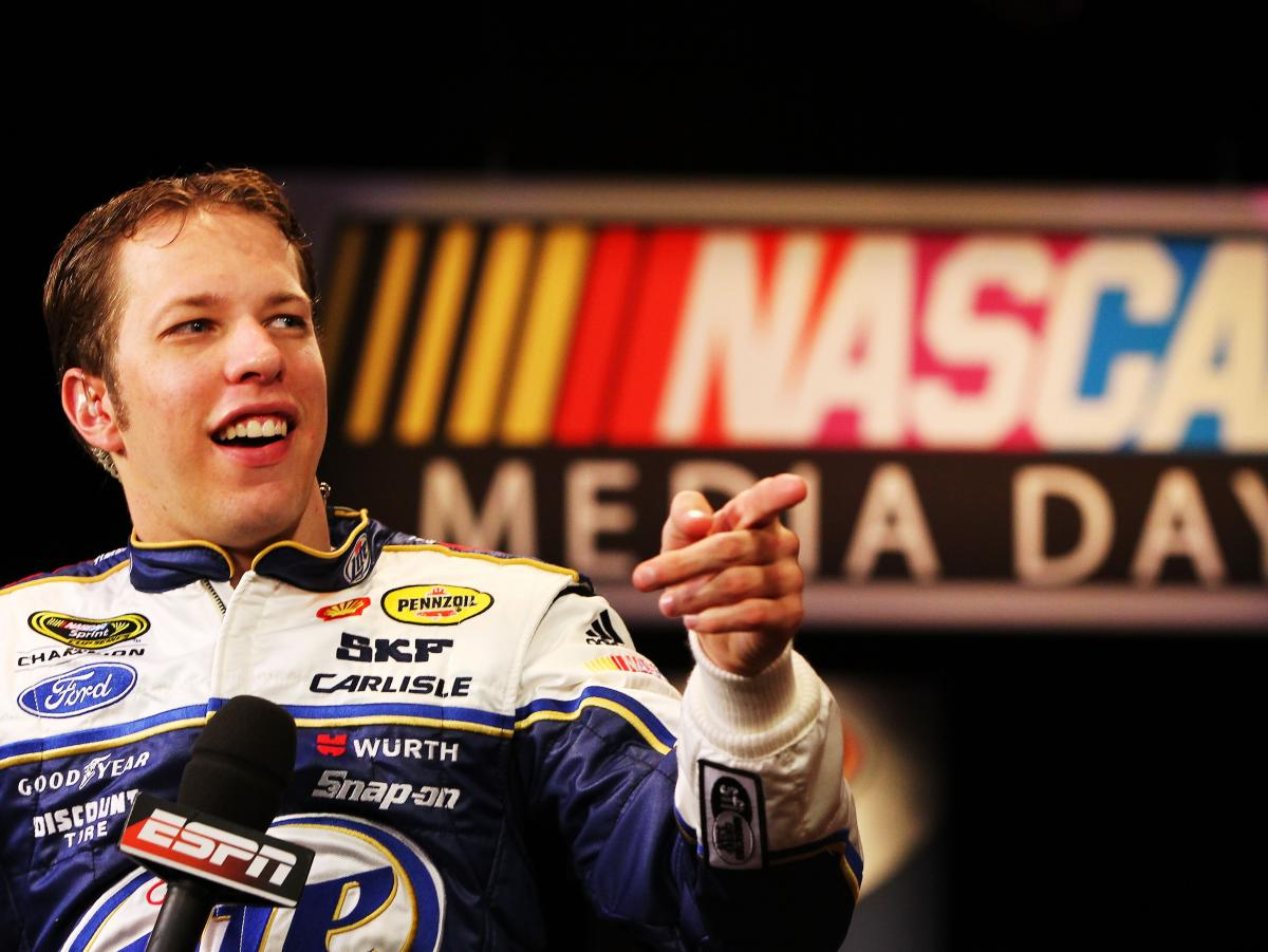 Brad Keselowski speaks to the media last week ahead of this Sunday's Daytona 500.