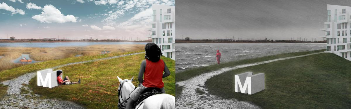 Artists' renderings of New Meadowland show how the wetland would be designed for human recreational use as well as flood control. The berm shown would be a path through the park when water was low (left). When storms came in, the wetlands would flood, and