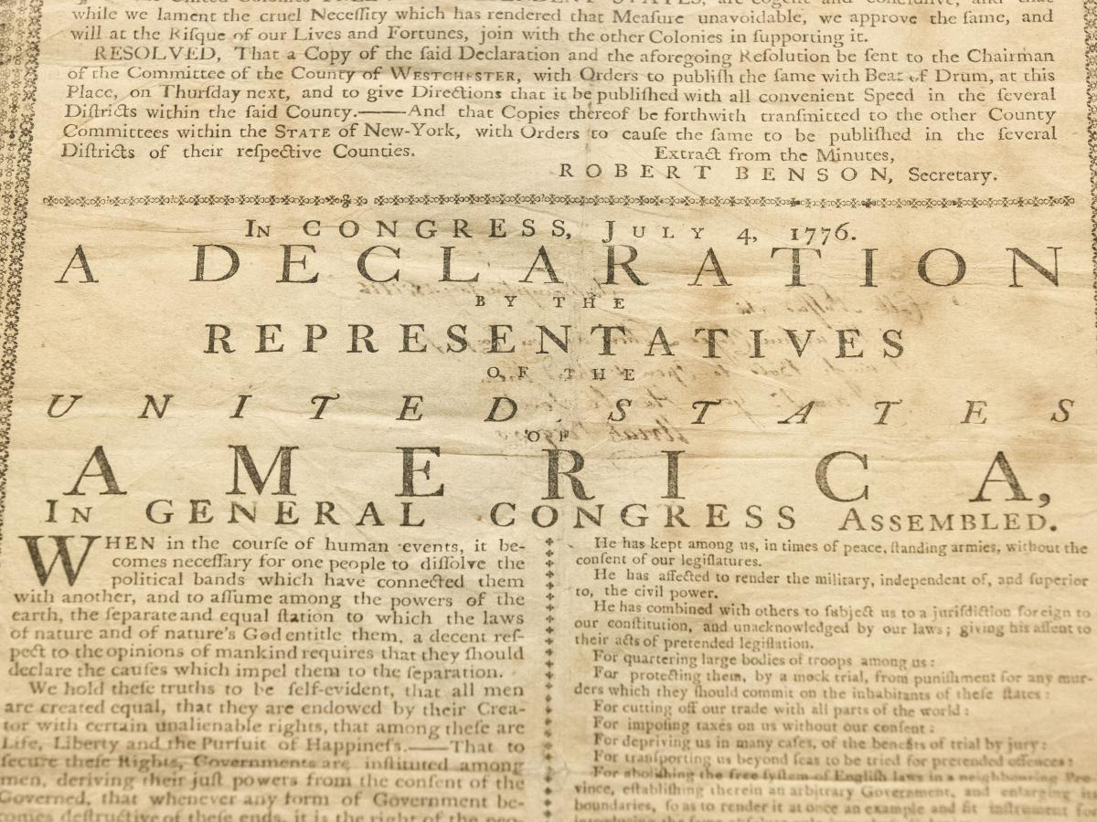 In this Monday, June 17, 2019 photo, shown is Holly Metcalf Kinyon's 1776 broadside printing of the Declaration of Independence at the Museum of the American Revolution in Philadelphia. Metcalf Kinyon, a descendent of Declaration signer John Witherspoon,