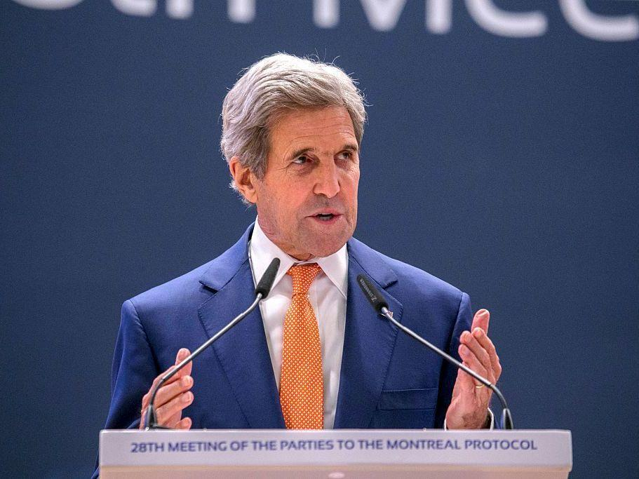 U.S. Secretary of State John Kerry delivers a speech Saturday during the 28th Meeting of the Parties to the Montreal Protocol in Kigali, Rwanda.
