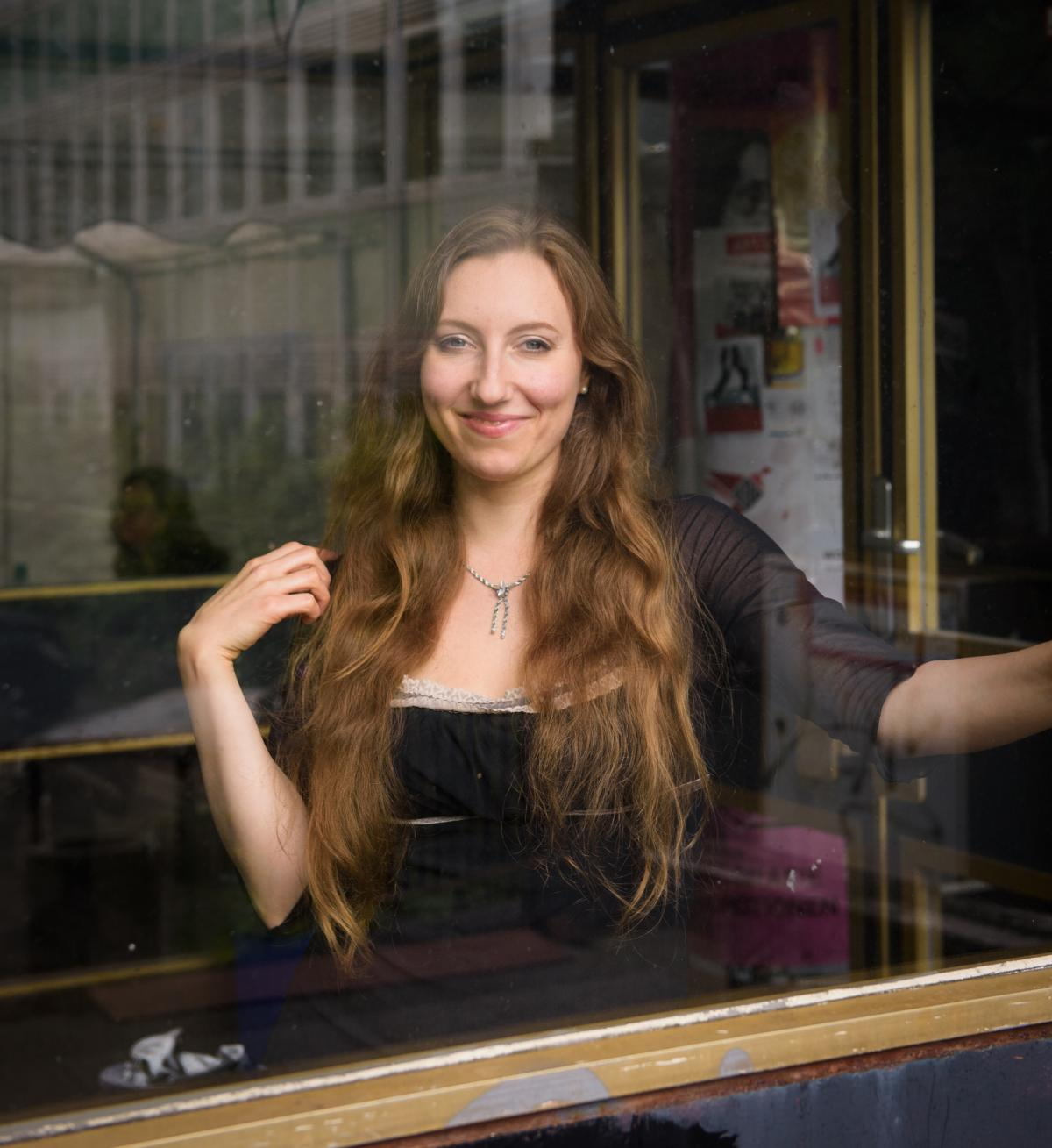 Sophia Lierenfeld, 28, leads an improvisational theater class for Germans and refugees. Abulhusn has been attending her weekly Improv Without Borders class and signed up for coaching in flirtation.