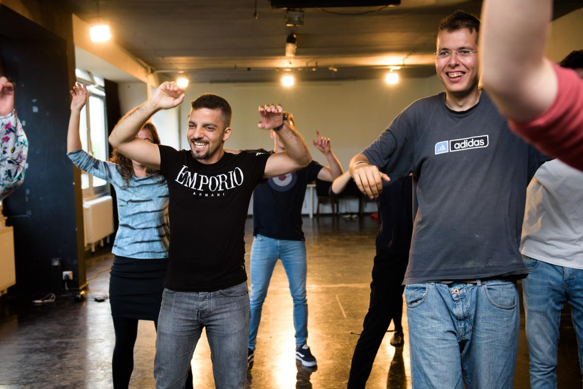 Abulhasn performs at a class at Improv Without Borders, a program he attends every week to gain self-confidence.