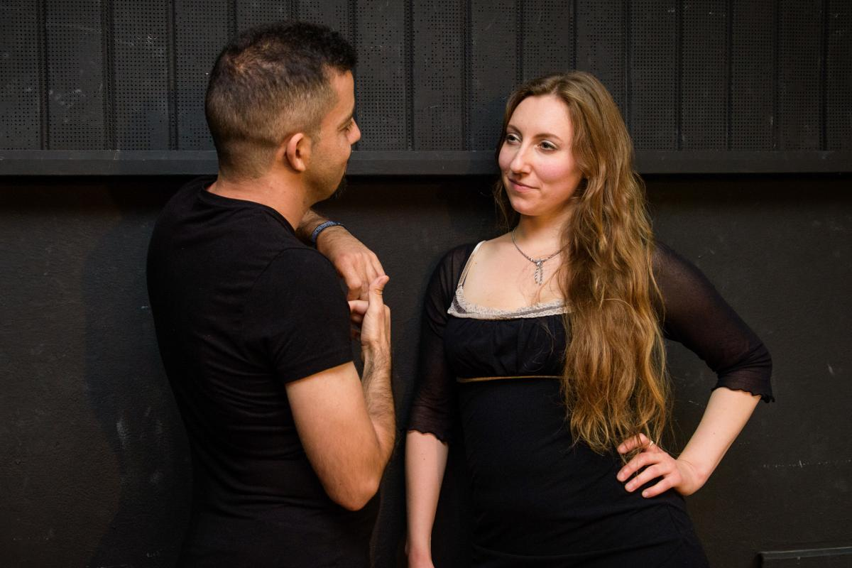 """When she's not leading a workshop, Lierenfeld works as a """"flirt coach"""" — helping clients become more confident in flirting with women. She and Aktham Abulhusn (left) had a recent session."""