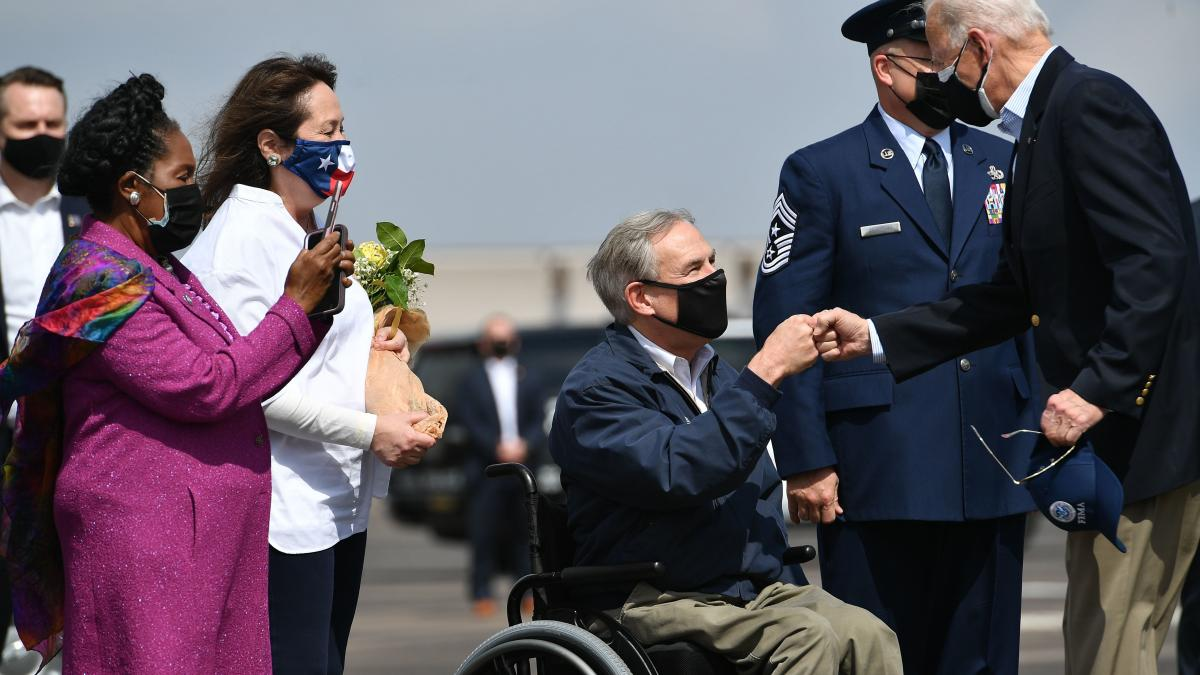 President Biden greeted Texas Gov. Greg Abbott in Houston, Texas late last month, following severe winter storms in the region.