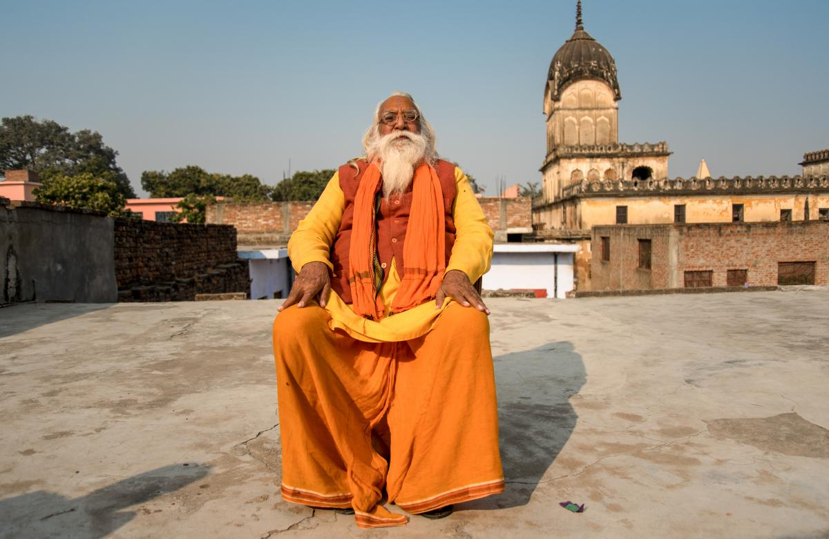 Satendra Das, 80, is the chief priest in waiting for the Ram temple, which has not yet been built in Ayodhya.