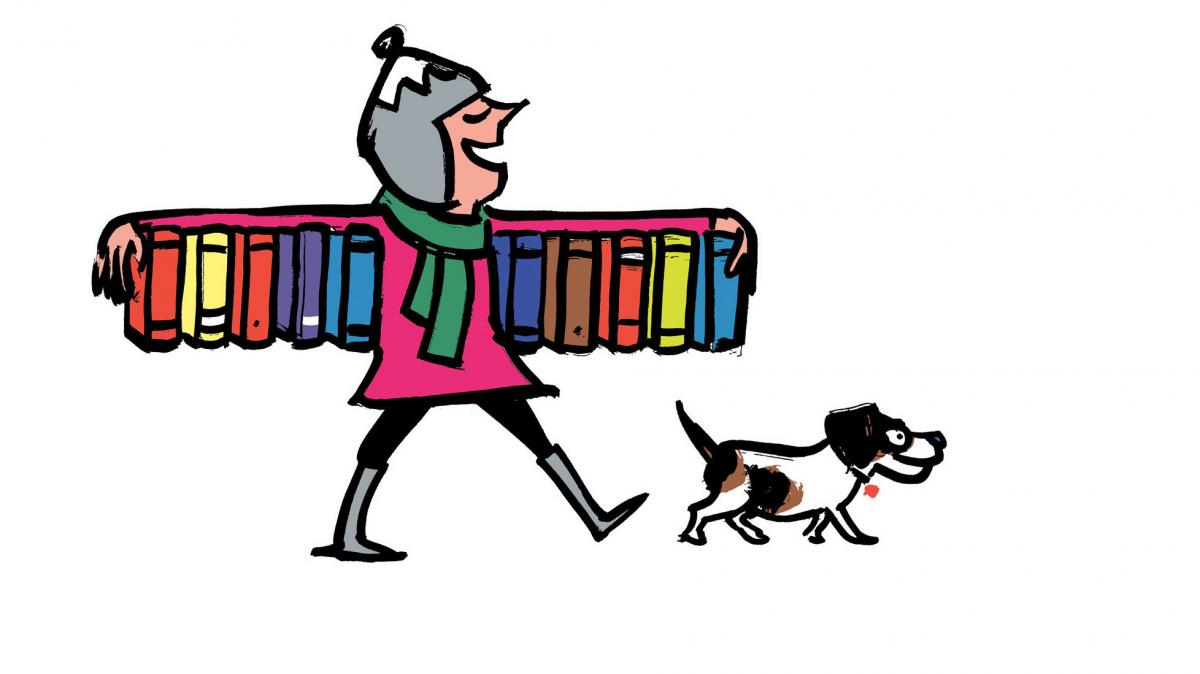 Illustration of woman and books.