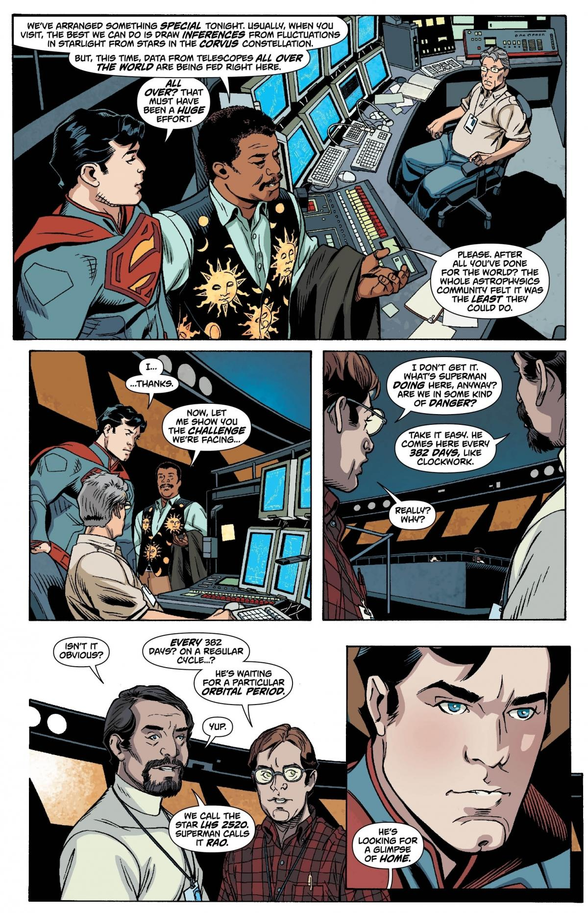 Superman is overwhelmed by the generosity of the scientists at the Hayden Planetarium.