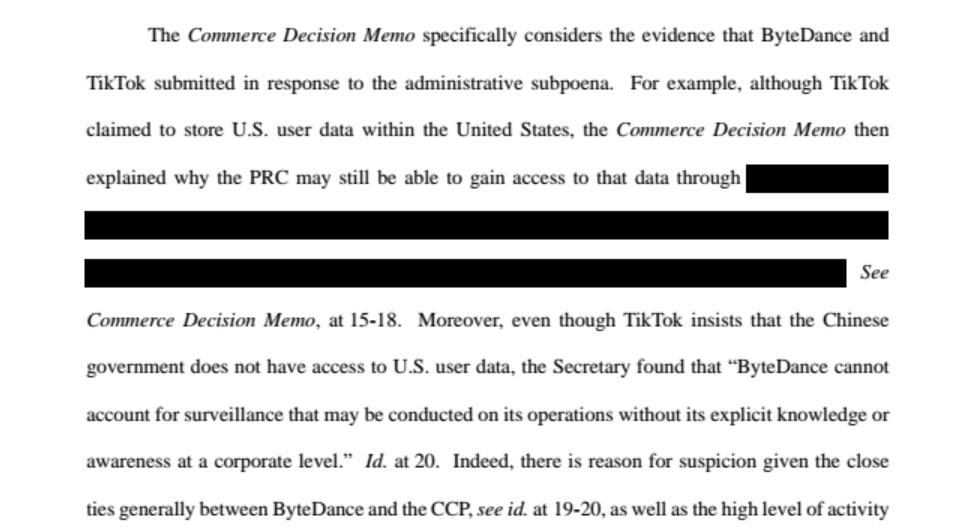 The Justice Department response to TikTok's lawsuit, which seeks a preliminary injunction to block Trump's ban from taking effect, includes redacted documents.