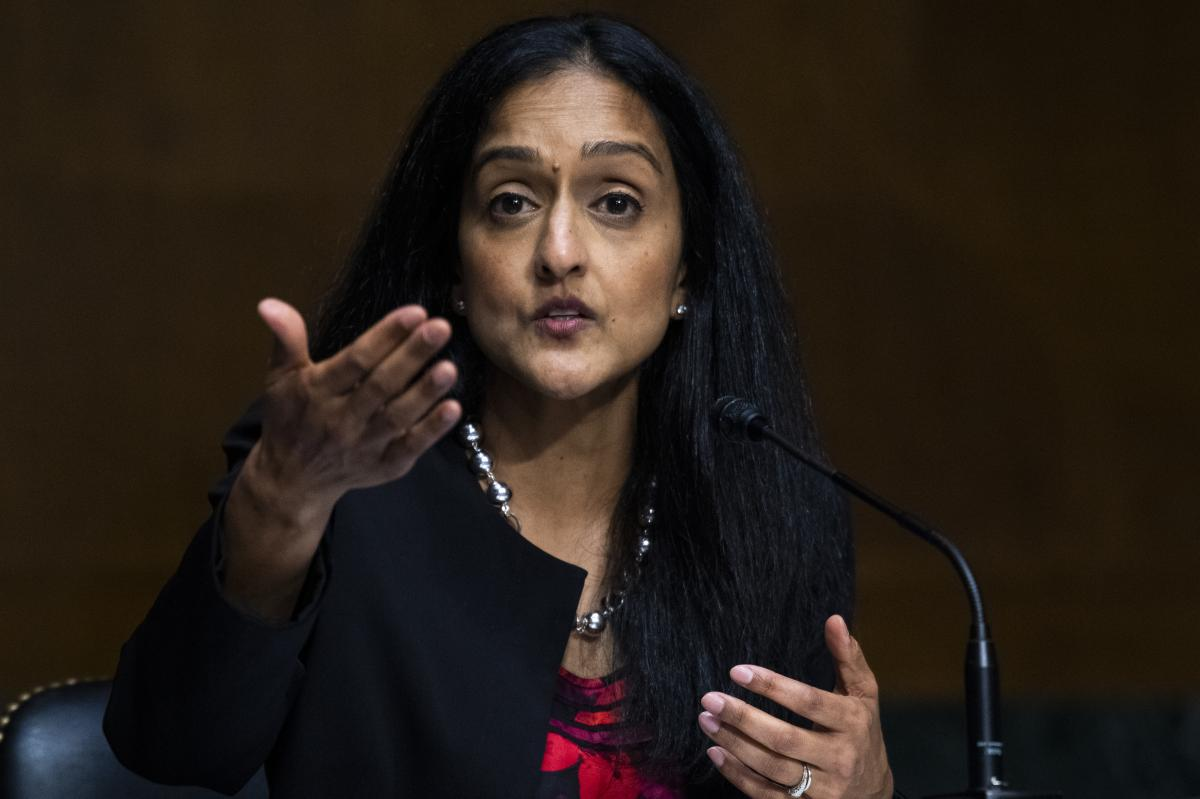 Vanita Gupta, nominee for associate attorney general, is pictured in June 2020 at a hearing on police use of force.
