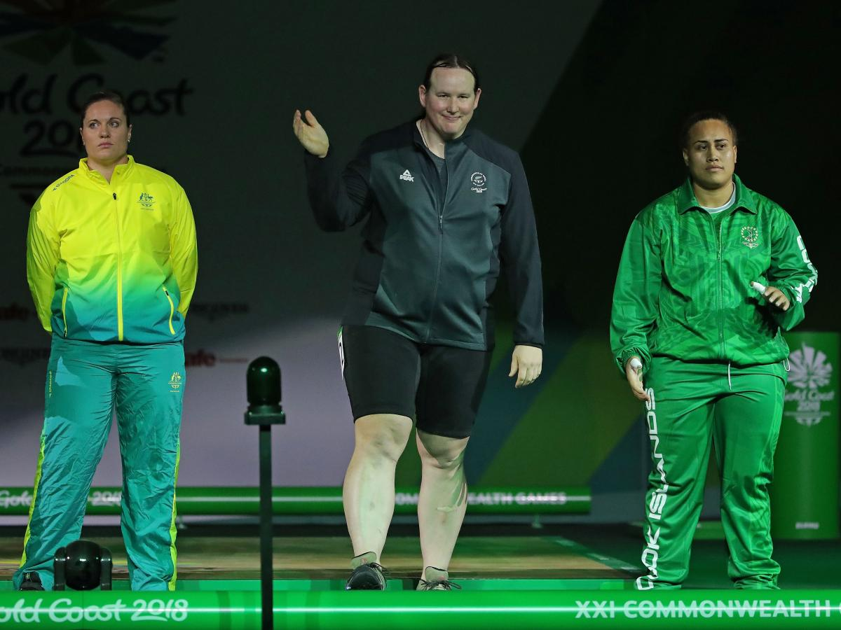 Hubbard is introduced to the crowd before competing in the women's +90kg (over 198 pounds) final at the 2018 Commonwealth Games.