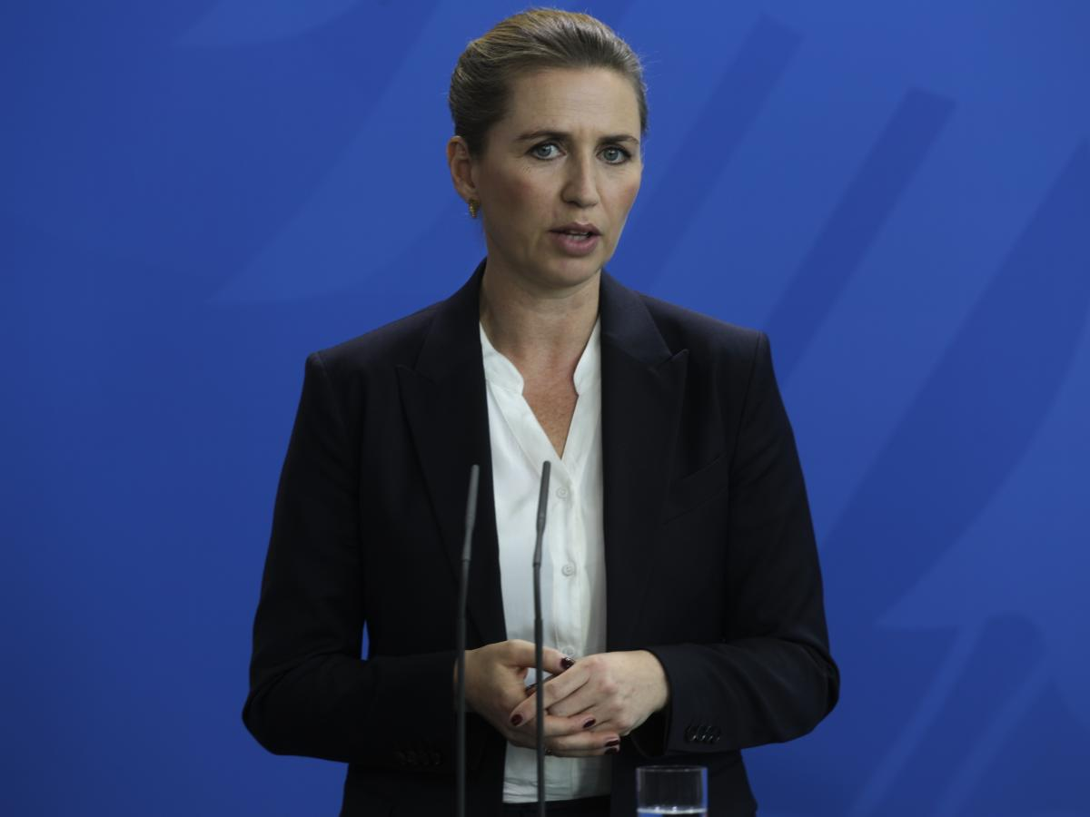 Danish Prime Minister Mette Frederiksen briefs the media during a news conference last month with German Chancellor Angela Merkel in Berlin.