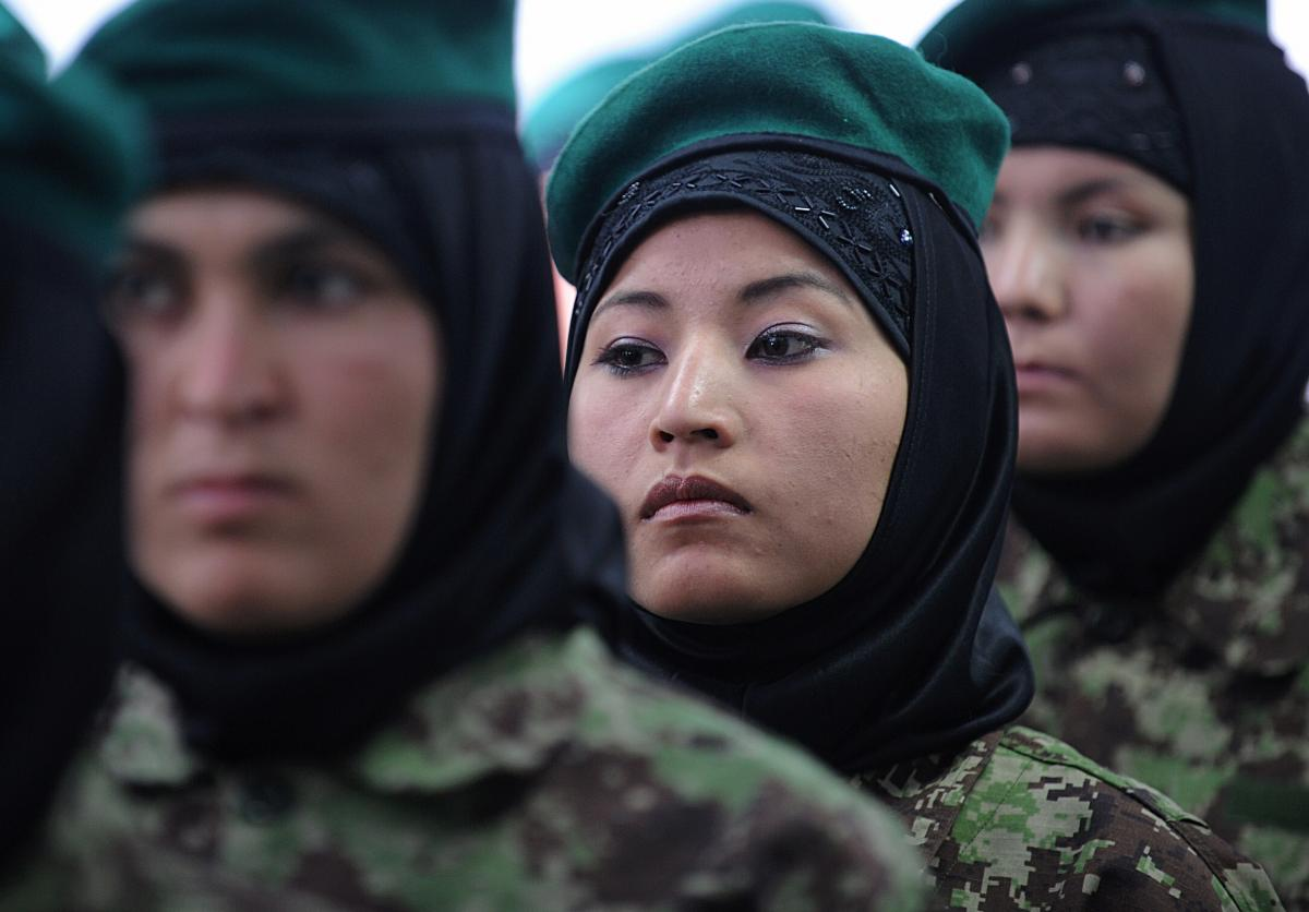 Afghan female military officers attend their graduation ceremony in Kabul on May 27, 2010.