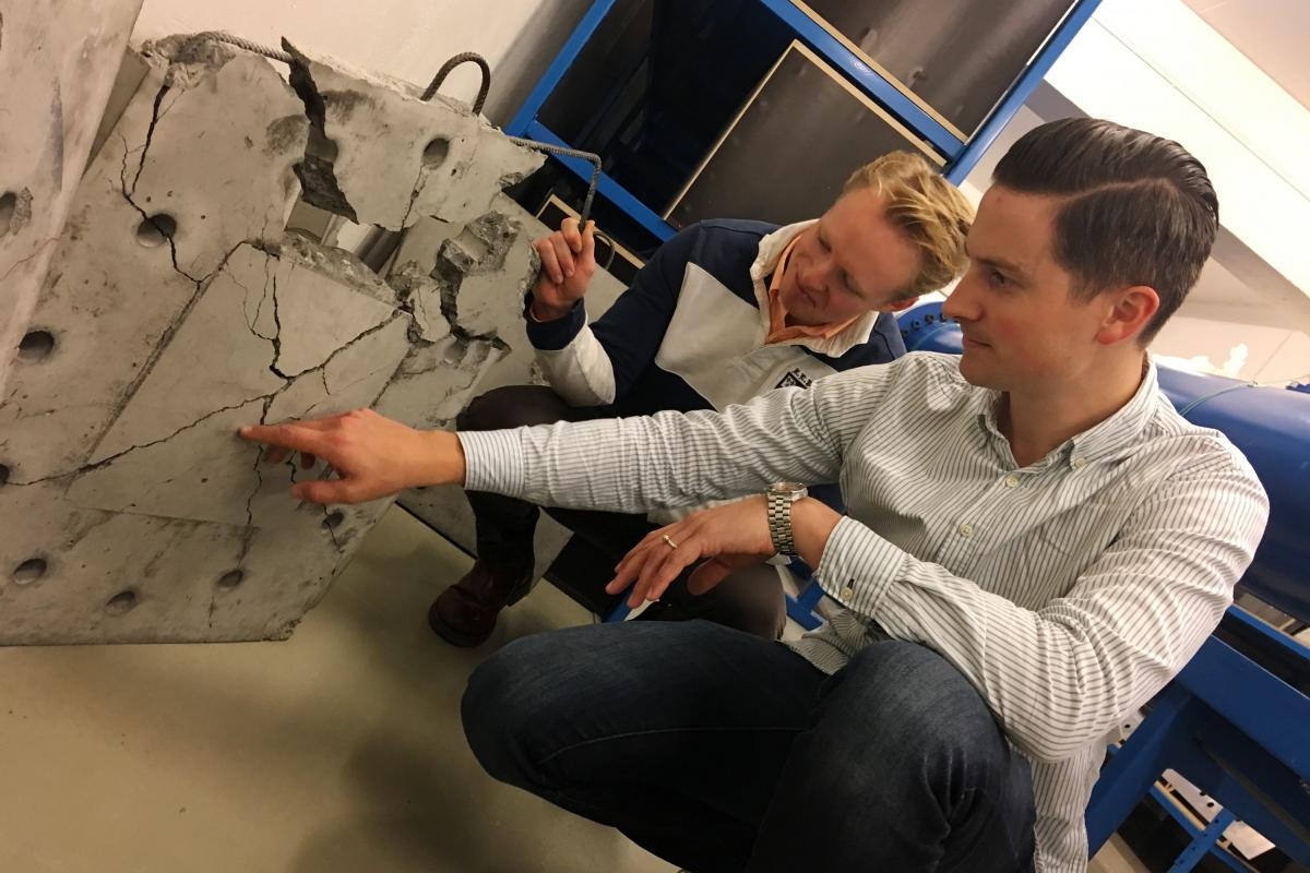 Vegard Aune (right), an associate professor in structural engineering, and Henrik Granum, a Ph.D. candidate at the Norwegian University of Science and Technology in the city of Trondheim, test the impact of simulated explosions on materials such as concre