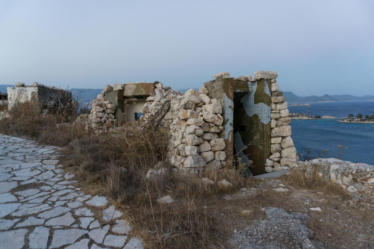 An empty military shelter on a hill of Kastellorizo that overlooks the Aegean and nearby Turkey.