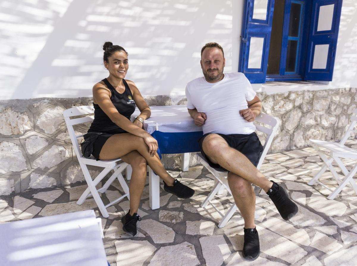 Kykkos Magiafis, a Greek who grew up on Kastellorizo, met his Turkish wife, Hurigul Bakirci, almost 10 years ago in the Turkish town of Kas, which is just a 10-minute speedboat ride from the island. They run a beach and lunch bistro on the nearby islet of