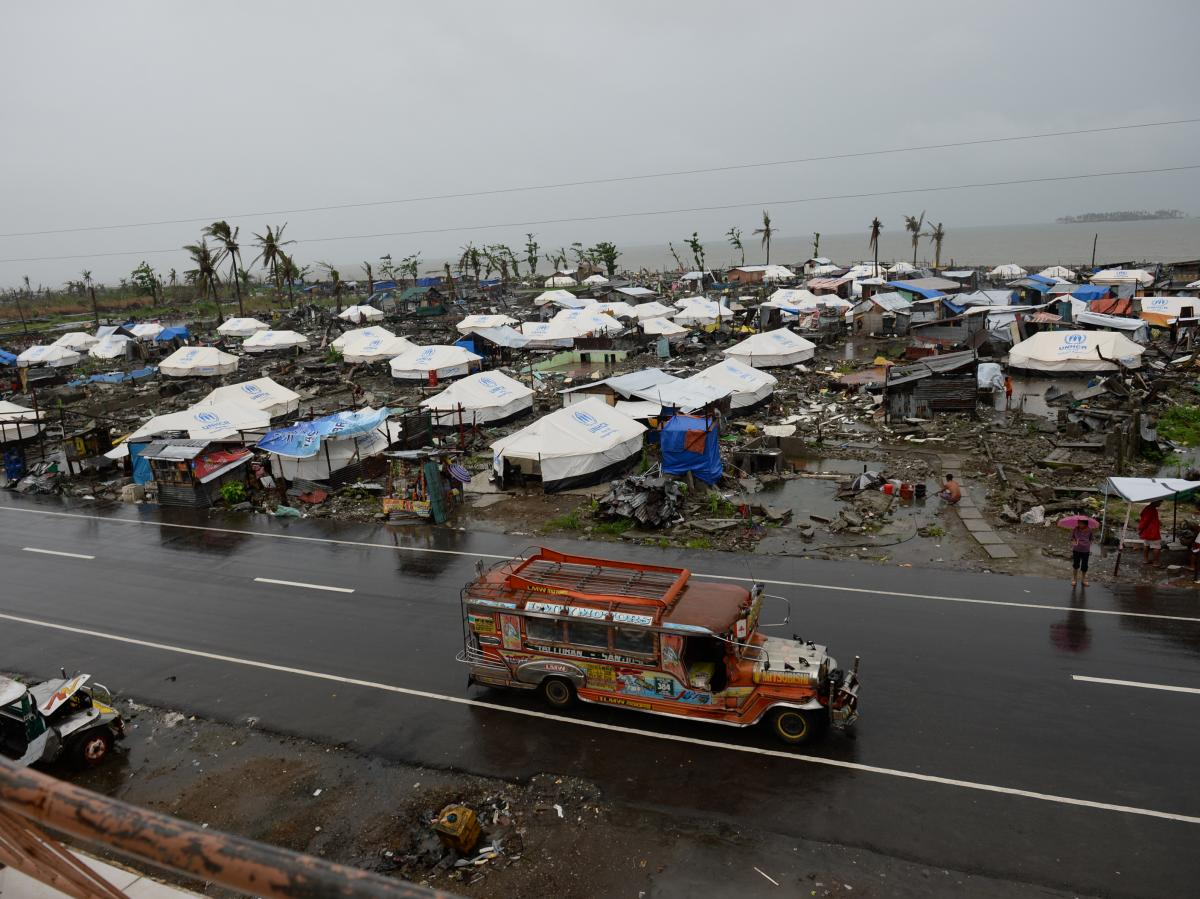 Tents are erected as temporary shelters for residents whose houses were flattened by Typhoon Haiyan in Tacloban city, Leyte province, on Dec. 25.
