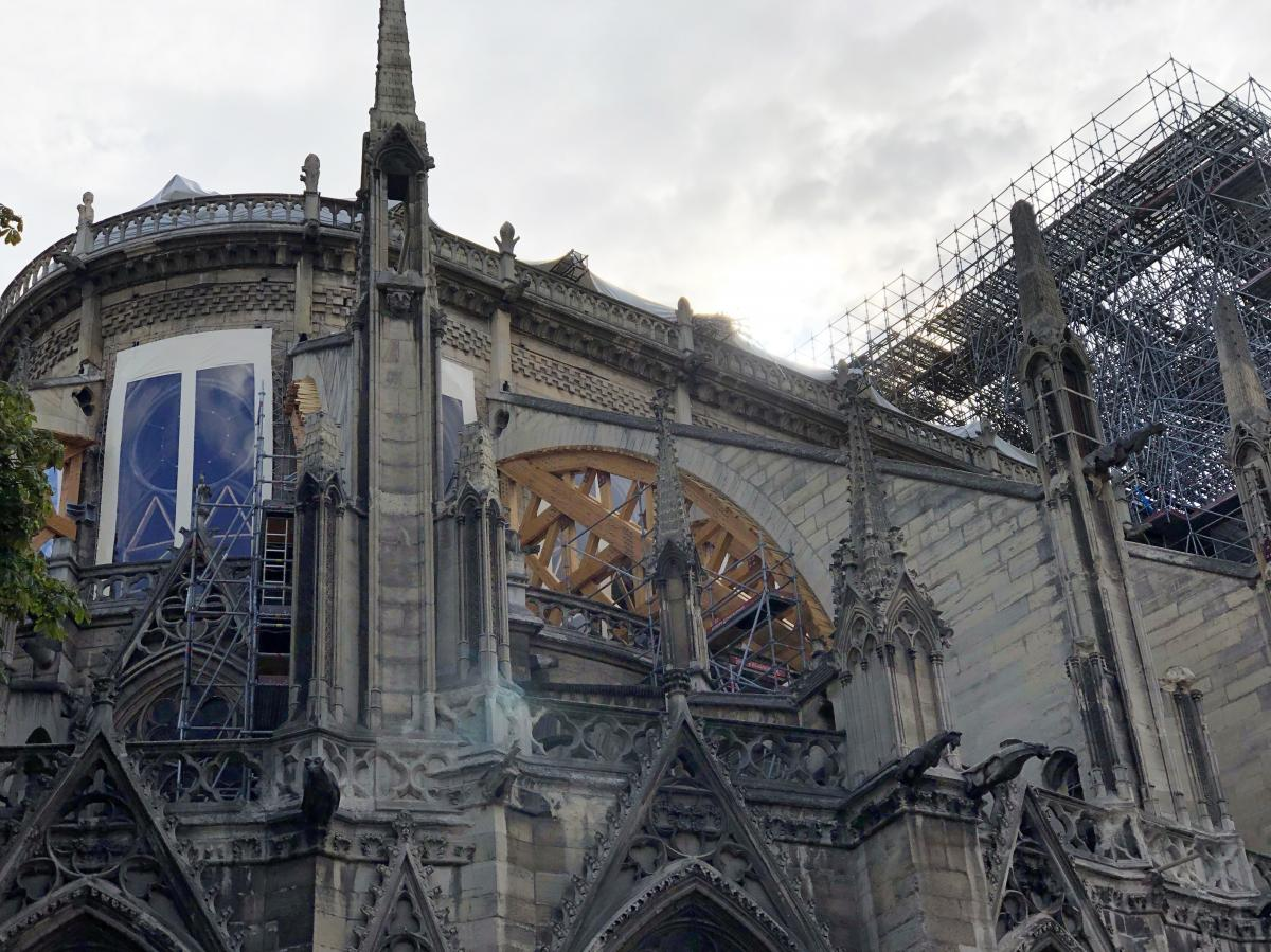 Repairs on the fire-damaged cathedral had been suspended for three weeks. New safety measures are now in place as the work resumes.