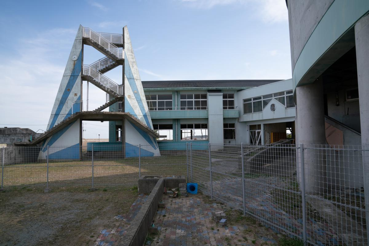 A deserted school that was hit by the tsunami nearby Minamisoma, in Fukushima prefecture. The Olympic torch was set to stop in the area on the first day of the relay.