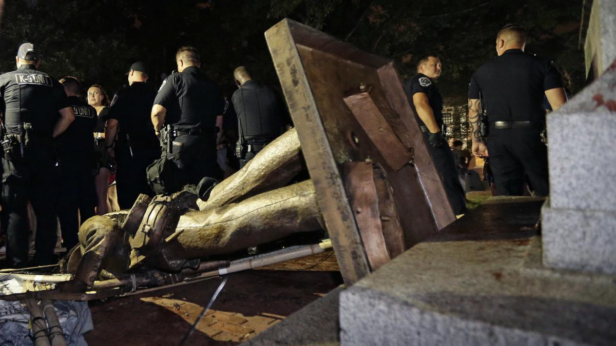 Silent Sam was toppled by protesters on the UNC campus in August 2018.