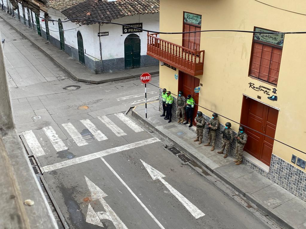 Peruvian military police enforce the quarantine on March 17, a day after Peruvian President Martín Vizcarra's orders of a national lockdown to halt the spread of the coronavirus.