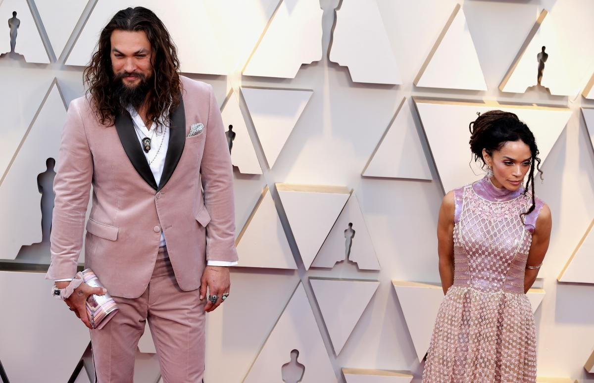 Jason Momoa, left, and Lisa Bonet, right
