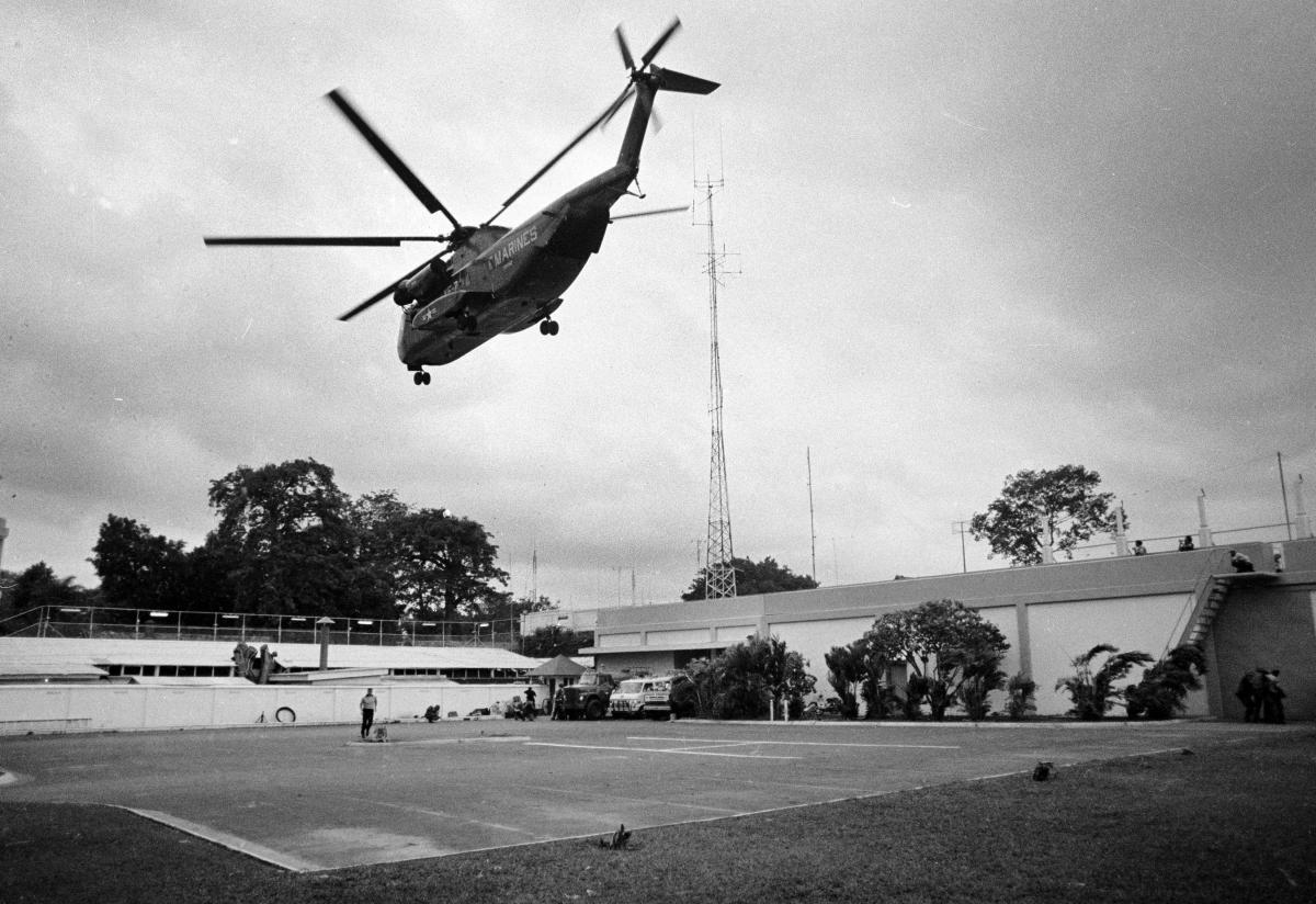 A helicopter lifts off from the U.S. embassy in Saigon, Vietnam on April 29, 1975.