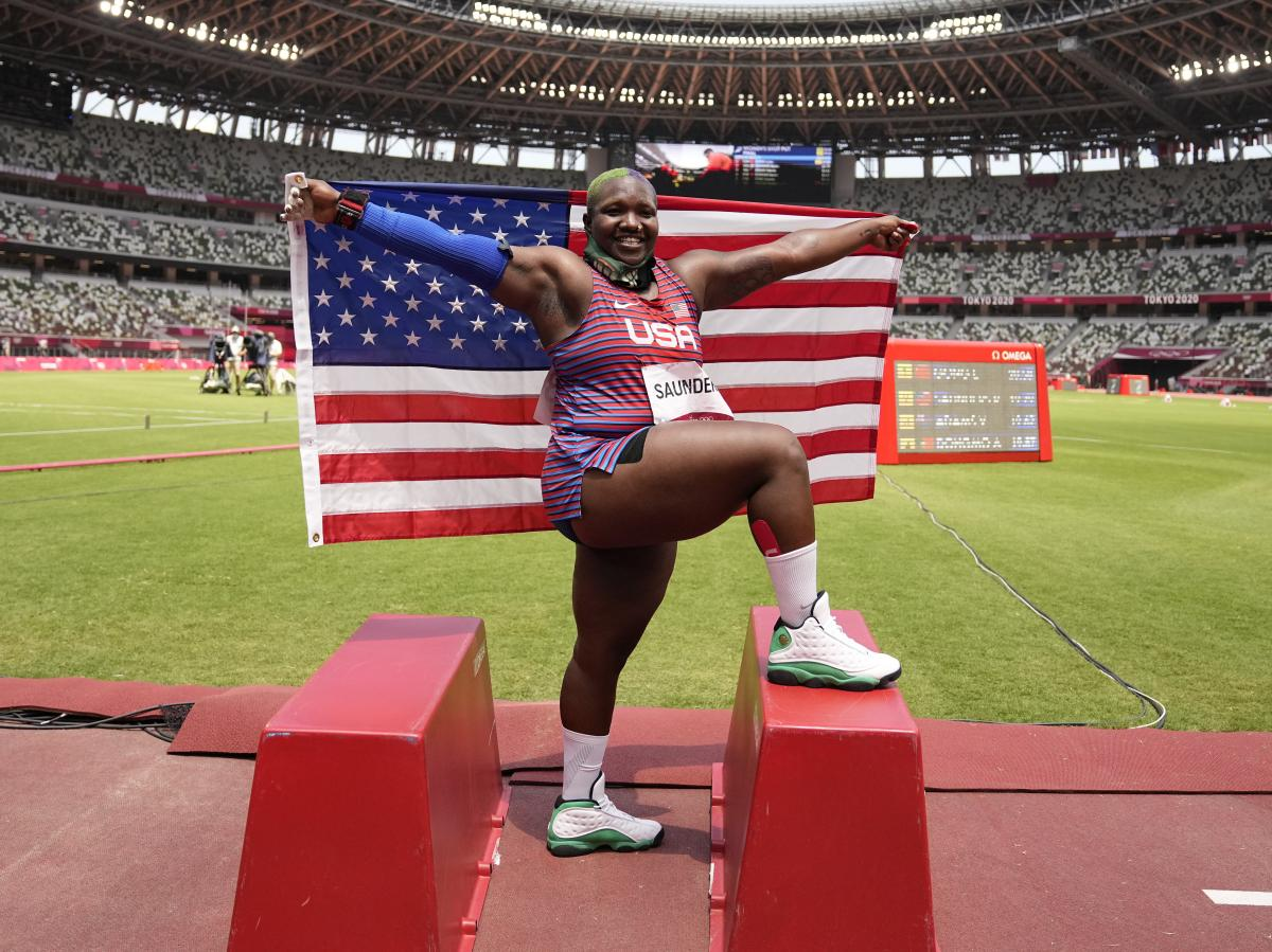 Raven Saunders celebrates after her second place finish in the final of the women's shot put.