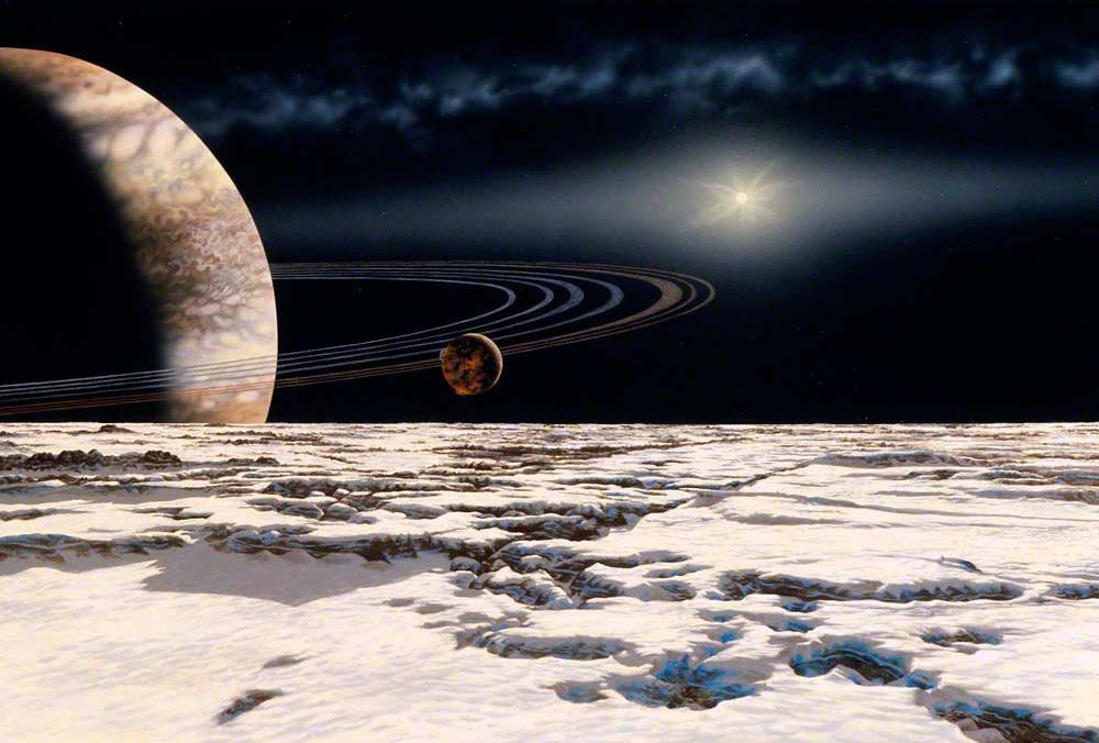Artist Lynette Cook painted this representation of Epsilon Eridani b and moons, from the book Infinite Worlds.