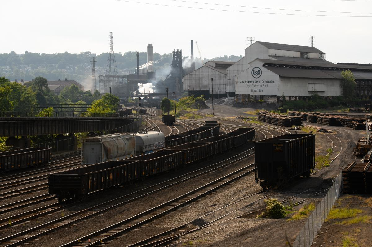 United States Steel's Edgar Thomson Plant seen in Braddock, Pa., on Sept. 12. Rep. Lee represents this area, which still has an active steel mill.