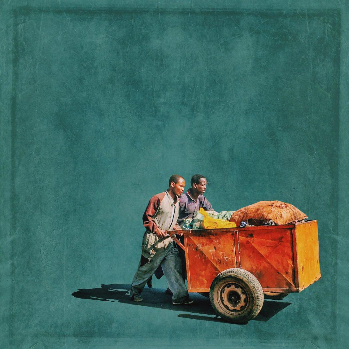 This image of two street workers in Addis Ababa was created and designed on Berta's mobile phone.