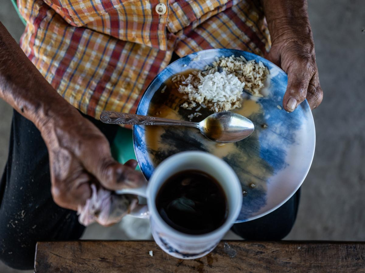 """Hernandez eats rice with a little coffee poured on top for her meal. She calls it """"survival food."""""""