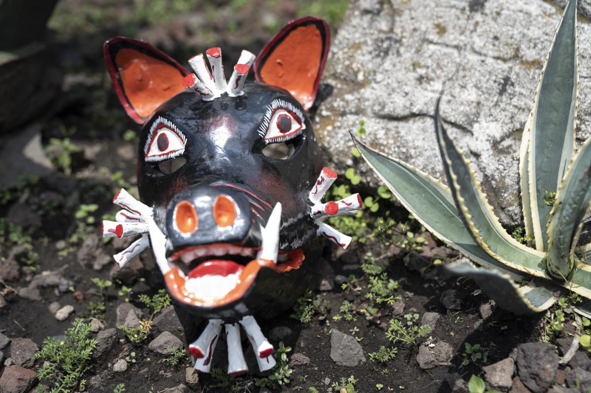 """""""COVID Pig,"""" Nahua artisan Zeferino Baltasar Basilio, San Francisco Ozomatlán, Guerrero, Mexico."""