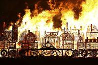 The replica of 17th-century London burns on Sunday.