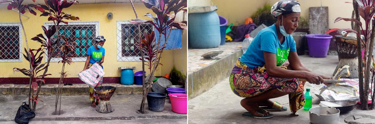 Left: Ngssakhes prepares a fire to cook lunch. Right: She cuts snook fish into pieces. She'll boil them, then fry them with vegetables and spices.