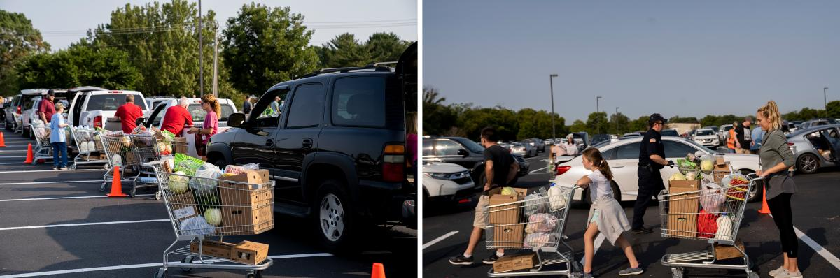 Volunteers with the nonprofit groups One Generation Away and Second Harvest Food Bank of Middle Tennessee load up cars with shopping carts full of donated food.